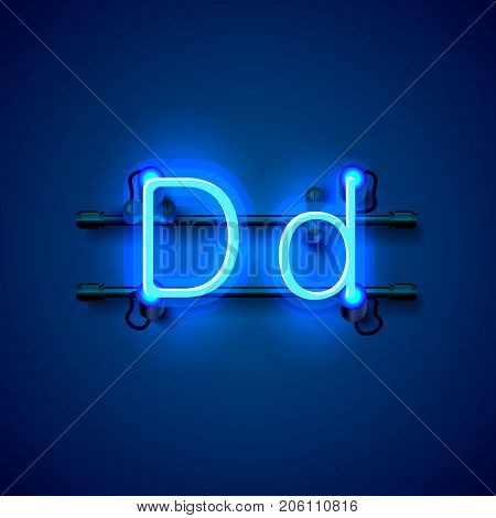 Neon font letter d, art design singboard. Vector illustration