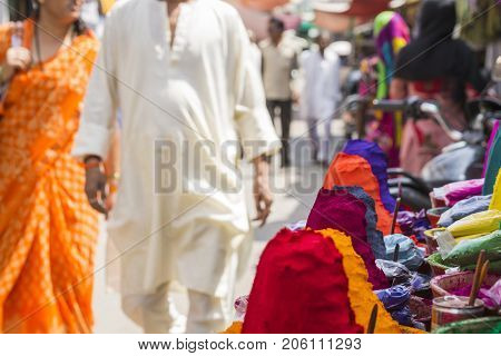 Colorful Tika Powders On Indian Market, India , Asia