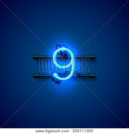 Neon city font sign number 9, signboard nine. Vector illustration