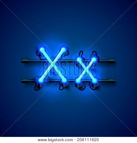 Neon font letter x, art design singboard. Vector illustration