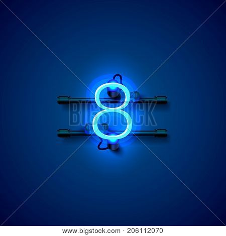 Neon city font sign number 8, signboard eight. Vector illustration