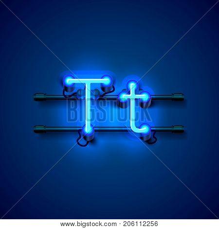 Neon font letter t, art design singboard. Vector illustration