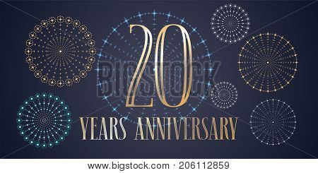 20 years anniversary vector icon, logo. Template design, banner with fireworks for 20th anniversary greeting card, can be used as decoration element