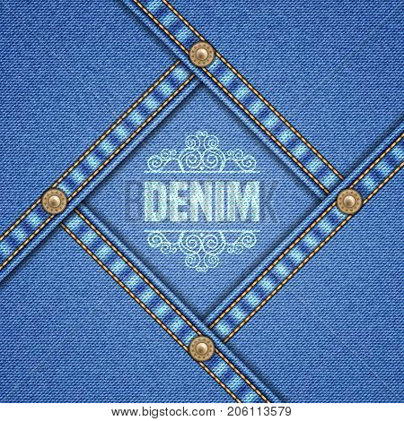 Denim background with decorative seams and rivets. Vector Illustration