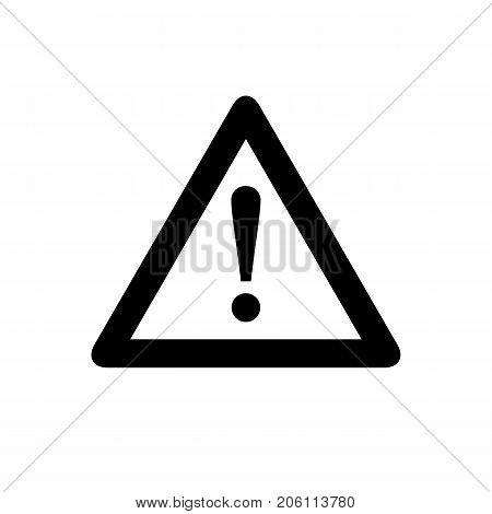 Attention icon. Black minimalist icon isolated on white background. Warning simple silhouette. Web site page and mobile app design vector element.