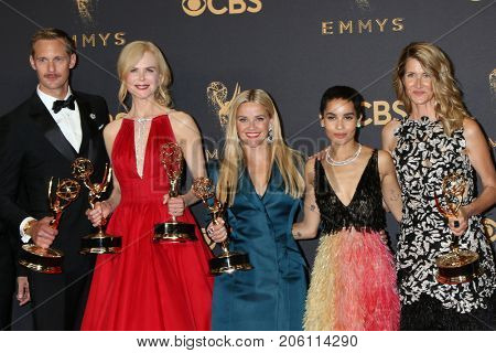 LOS ANGELES - SEP 17:  J Nording, A Skarsgard, N Kidman, R Witherspoon, Zoe Kravitz, Laura Dern at the Emmy Awards - Press Room at the JW Marriott Ballroom on September 17, 2017 in Los Angeles, CA
