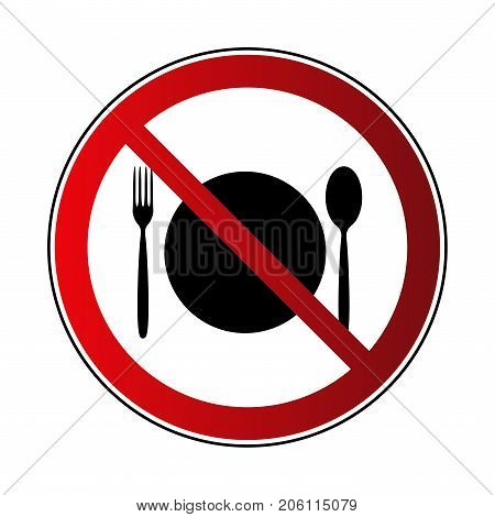 No food sign. Prohibited road sign food isolated on white background. Black silhouette fork spoon plate in red round. Symbol of breakfast kitchen diet. Forbidden icon Vector illustration