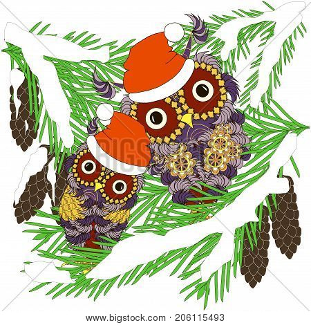 Two violet owls in red hats sitting on green fir branches in white snow with cones stock vector illustration