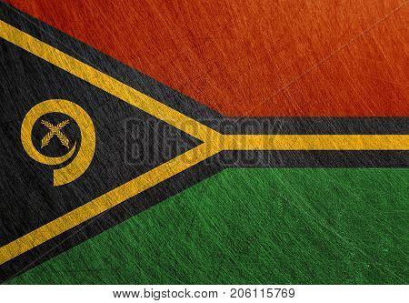 Vanuatu flag metal vintage retro scratched steel background. Melanesia