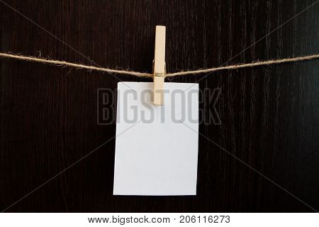 A Leaf On A Clip And A Linen Rope