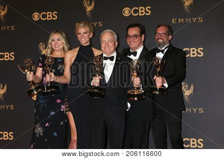 LOS ANGELES - SEP 17: Erin Doyle, Lindsay Shookus, Lorne Michaels, Steve Higgins, Erik Kenward at the Emmy Awards - Press Room at the JW Marriott Gold Ballroom on September 17, 2017 in Los Angeles, CA