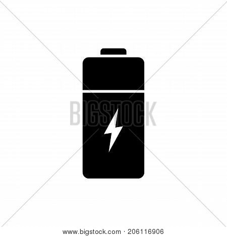 Battery icon. Black minimalist icon isolated on white background. Battery simple silhouette. Web site page and mobile app design vector element.