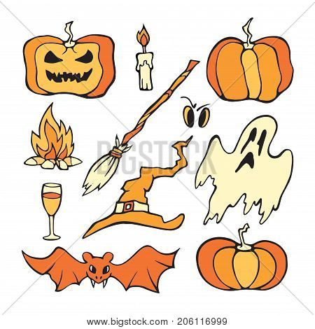 Vector Helloween set. Color pumpkin and other horror elements isolated on white.