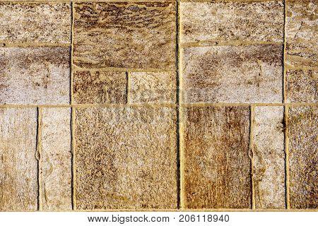 The texture of paving stone masonry, close up