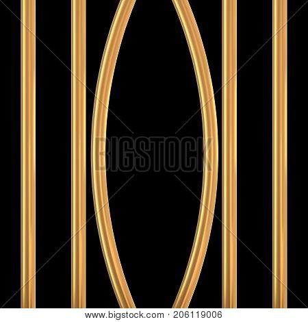 Broken golden prison bars. Vector illustration. Way out to freedom from gold cage concept