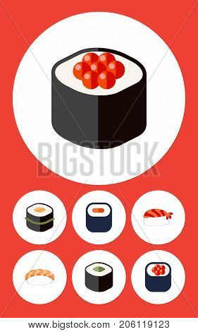 Flat Icon Sashimi Set Of Eating, Maki, Salmon Rolls And Other Vector Objects