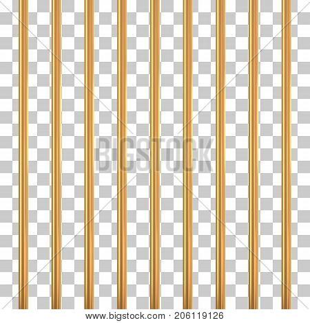 Gold prison bars on transparency. Golden cage concept. Vector illustration.