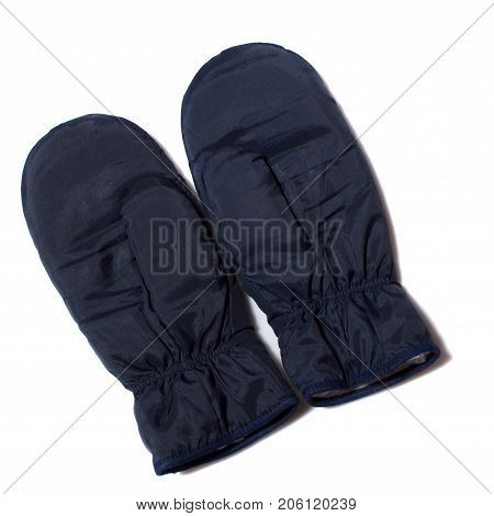 Blue sports mitten on a white background