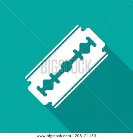 Razor blade icon with long shadow. Flat design style. Razor blade simple silhouette. Modern minimalist icon in stylish colors. Web site page and mobile app design vector element.