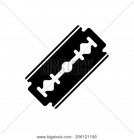 Razor blade icon. Black minimalist icon isolated on white background. Razor blade simple silhouette. Web site page and mobile app design vector element.