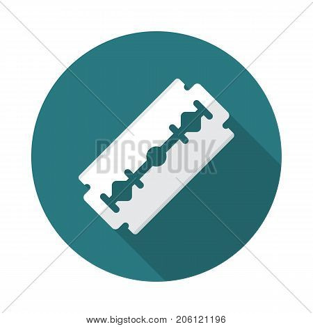 Razor blade circle icon with long shadow. Flat design style. Razor blade simple silhouette. Modern minimalist round icon in stylish colors. Web site page and mobile app design vector element.