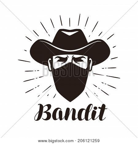 Bandit, gangster logo or label. Portrait of cowboy in mask. Lettering vector illustration