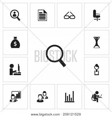 Set Of 13 Editable Bureau Icons. Includes Symbols Such As Line Chart, Presentation, Spectacle And More