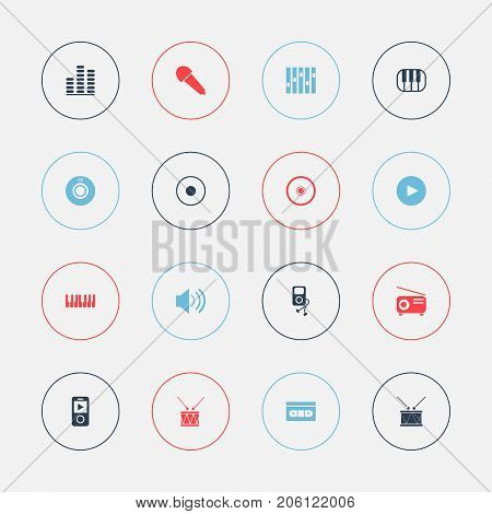 Set Of 16 Editable Audio Icons. Includes Symbols Such As Rec, Play Button, Piano And More