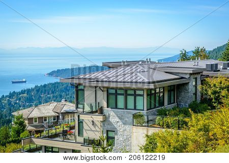 Luxury house with ocean view in Vancouver, Canada.