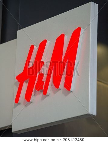 ROTTERDAM, NETHERLANDS-SEP 9, 2017: H&M Store Sign. H&M Hennes & Mauritz AB is a Swedish multinational retail-clothing company. H&M has over 3,700 stores and as of 2015 employed around 132,000 people.
