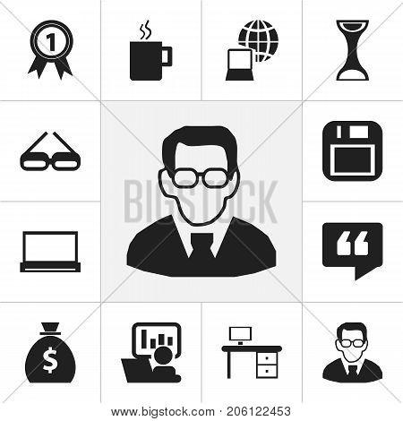 Set Of 12 Editable Bureau Icons. Includes Symbols Such As Publicity, Office Desk, Money Bag And More