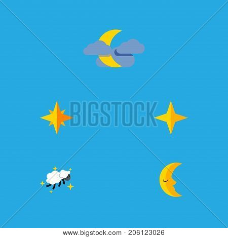 Flat Icon Midnight Set Of Night, Star, Moon And Other Vector Objects