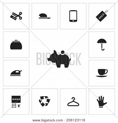 Set Of 13 Editable Trade Icons. Includes Symbols Such As Saucer, Automatic Teller Machine, Cash Collecting And More