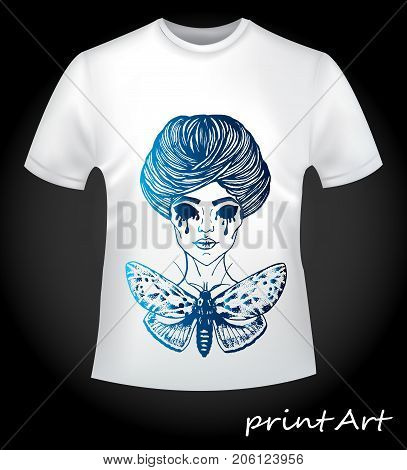 Gothic print on white T-shirt. Steep print on a white T-shirt. A terrible witch with a machaon. The idea for a T-shirt on Halloween. Creative blue gradient sketch