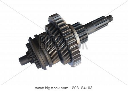 secondary shaft of the gearbox of the truck Assembly on an isolated white background