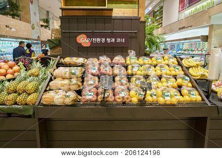 BUSAN, SOUTH KOREA - MAY 28, 2017: Super Market at Lotte Department Store in Busan.