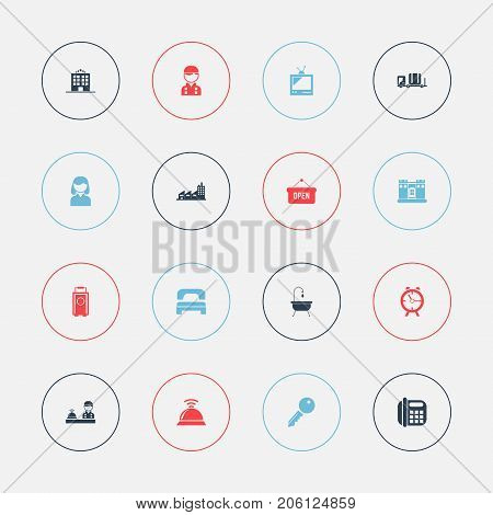 Set Of 16 Editable Motel Icons. Includes Symbols Such As Unblock Access, Employee, Opened Placard And More