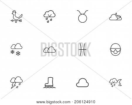 Set Of 12 Editable Climate Outline Icons. Includes Symbols Such As Midnight, Overcast, Waterproof Shoes And More