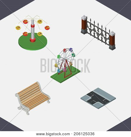 Isometric Architecture Set Of Seat, Crossroad, Recreation And Other Vector Objects