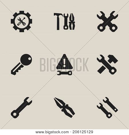 Set Of 9 Editable Toolkit Icons. Includes Symbols Such As Screwdriver Wrench, Access, Fix Tool And More
