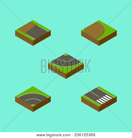 Isometric Road Set Of Pedestrian, Road, Incomplete And Other Vector Objects