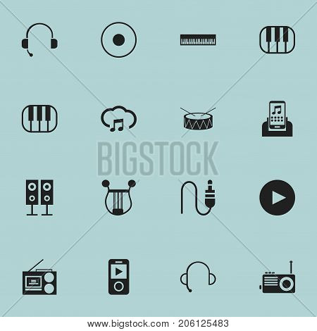 Set Of 16 Editable Melody Icons. Includes Symbols Such As Play Button, Media Device, Snare And More