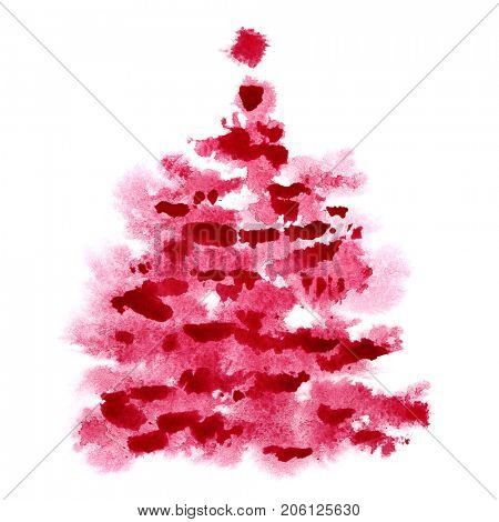 Red watercolor Christmas tree isolated on the white background - raster illustration