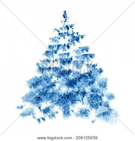 Blue watercolor Christmas tree isolated on the white background - raster illustration