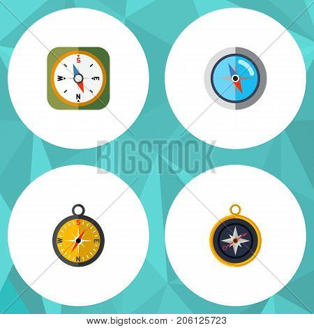 Flat Icon Orientation Set Of Divider, Instrument, Navigation And Other Vector Objects