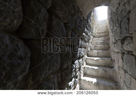 Stairs In The Tower Of Castillo De La Mola