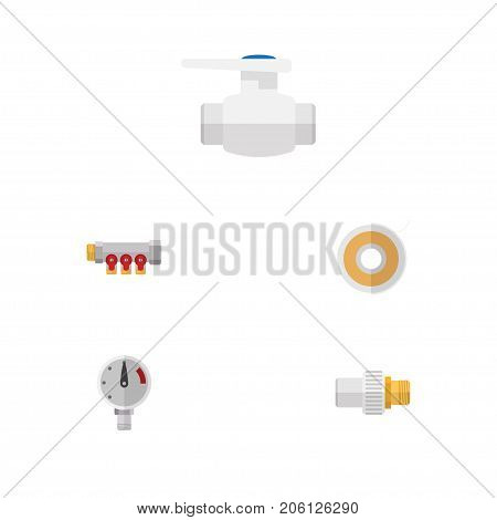 Flat Icon Plumbing Set Of Industry, Pressure, Roll And Other Vector Objects