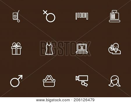 Set Of 12 Editable Shopping Outline Icons. Includes Symbols Such As Bar Code, Till, Trading Purse And More