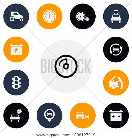 Set Of 13 Editable Car Icons. Includes Symbols Such As Accumulator, Speed Display, Speedometer And More