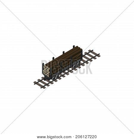 Lumber Shipping Vector Element Can Be Used For Wood, Wagon, Lumber Design Concept.  Isolated Wood Transporting Isometric.